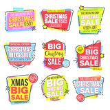 Christmas Big Sale Sticker Set Vector. Template For Advertising. Discount Tag, Special Offer Banner. Up To 50 Percent. Off Badges. Promo Icon. Buy Label royalty free illustration