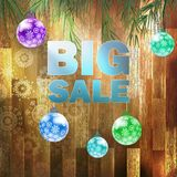 Christmas Big sale on wood parquet wall. Royalty Free Stock Images