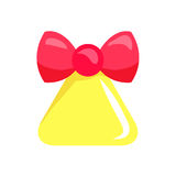 Christmas Big Yellow Bell with Red Ribbon. Vector Royalty Free Stock Images