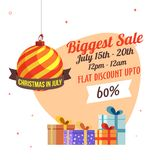 Christmas Biggest Sale in July, poster, or banner template, with. Hanging Christmas Ball and flat 60% discount offers Royalty Free Stock Image