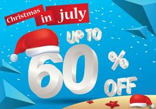 Christmas Sale in July design with 3d concept. Christmas Biggest Sale in July, poster, or banner template, with santa hat and 3d 60% discount offers royalty free illustration