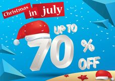 Christmas Sale in July design with 3d concept. Christmas Biggest Sale in July, poster, or banner template, with santa hat and 3d 70% discount offers royalty free illustration