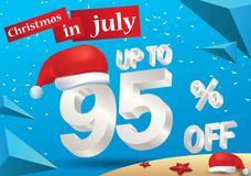 Christmas Sale in July design with 3d concept. Christmas Biggest Sale in July, poster, or banner template, with santa hat and 3d 95% discount offers vector illustration