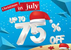 Christmas Sale in July design with 3d concept. Christmas Biggest Sale in July, poster, or banner template, with santa hat and 3d 75% discount offers vector illustration