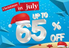 Christmas Sale in July design with 3d concept vector illustration