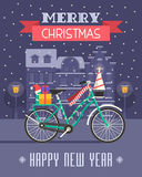 Christmas Bike Greetings Card Royalty Free Stock Images