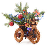 Christmas bike from the vine. Royalty Free Stock Photo