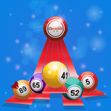 Christmas bingo balls over 3D stripes on blue background Stock Photography