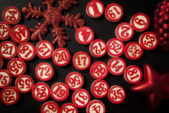 Christmas bingo numbers Royalty Free Stock Images