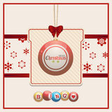 Christmas bingo tag on red and cream background Royalty Free Stock Photography