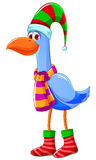 Christmas bird. Cartoon bird dressed for christmas Stock Image