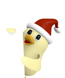 Christmas bird with blank sign, 3d render. Funny Bird with hat of Santa holding a blank sign on a white background, 3d rendering Stock Images