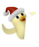Christmas bird with blank sign, 3d render. Funny Bird with hat of Santa holding a blank sign on a white background, 3d rendering Royalty Free Stock Photo
