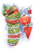 Christmas bird and Christmas background. watercolor illustration Stock Photo