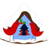 Christmas in bird family Stock Photography