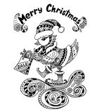 Christmas Bird with gift package  in Zen-doodle style black on white Royalty Free Stock Photos