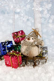 Christmas bird with Gifts Stock Images