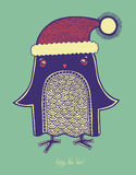 Christmas bird, illustration of doodle penguin in Stock Image