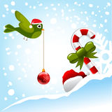 Christmas bird and ornaments Stock Photography