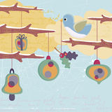 Christmas bird and ornaments Stock Images