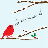 Christmas bird singing carol in tree. Cute red bird in snow covered tree singing hark the herald angels sing christmas carol stock illustration
