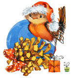 Christmas bird watercolor Royalty Free Stock Photo