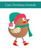 Christmas Bird Wearing Warm Winter Clothes. Cute Merry Christmas Animal Illustration. Festive Cold Holidays Theme. Colorful Bird Wearing Warm Winter Clothes: Hat Stock Photography