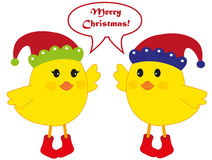 Christmas birds. Illustration of two cute birds with Santa hat and saying Merry Christmas, isolated on white background. vector. eps available Stock Image