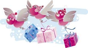 Christmas birds bring gifts. Vector illustration of three funny redhead birds bringing gifts Stock Illustration