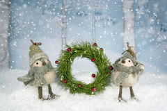 Christmas Birds Wreath royalty free stock image