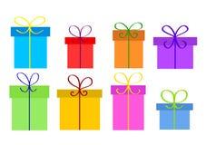 Christmas or birthday gift boxes on white, stock vector illustra. Tion, eps 10 Royalty Free Stock Photos