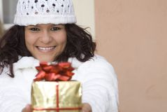 Christmas or birthday gift, present royalty free stock photo