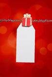 Christmas Birthday Gift Tag. Christmas or birthday gift tag on red background Stock Images