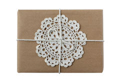 Christmas or birthday present with crocheted doily Stock Images