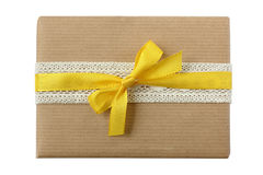 Christmas birthday surprise package with yellow ribbon Stock Photography