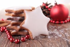 Christmas biscuit. With christmas decoration Stock Image