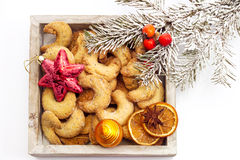Christmas biscuits, Almond cookies in wood bowl Royalty Free Stock Photography