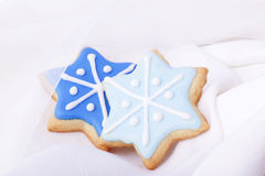 Christmas biscuits blue stars Stock Photo