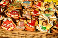 Christmas biscuits, Christmas cookies, Germany. On the sun, in a basket.On them it is written - O New Year tree royalty free stock photos