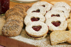 Christmas biscuits on wooden board Stock Photo