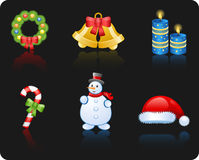 Christmas black background icon set Royalty Free Stock Photography