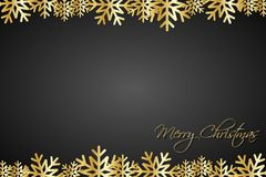 Christmas black background lined golden snowflakes Royalty Free Stock Images