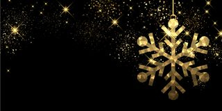 Christmas black background with snowflake. Christmas black background with golden snowflake. Vector illustration Stock Photography