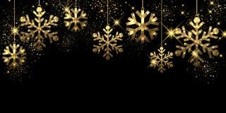 Christmas black background with snowflakes. Christmas black background with golden snowflakes. Vector illustration Stock Photos