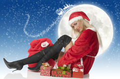 Christmas and black boots Royalty Free Stock Photos