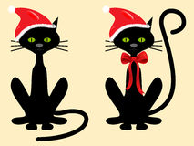 Christmas black cat santa. With red ribbon and hat stock illustration