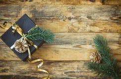 Christmas black gift box Stock Image