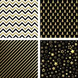 Christmas black and gold seamless patterns. Vector set of Christmas backgrounds royalty free illustration