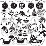 Christmas black icons Stock Image