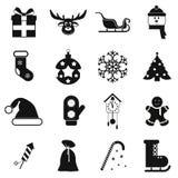 16 christmas black icons set. Plain symbols isolated on a white stock illustration